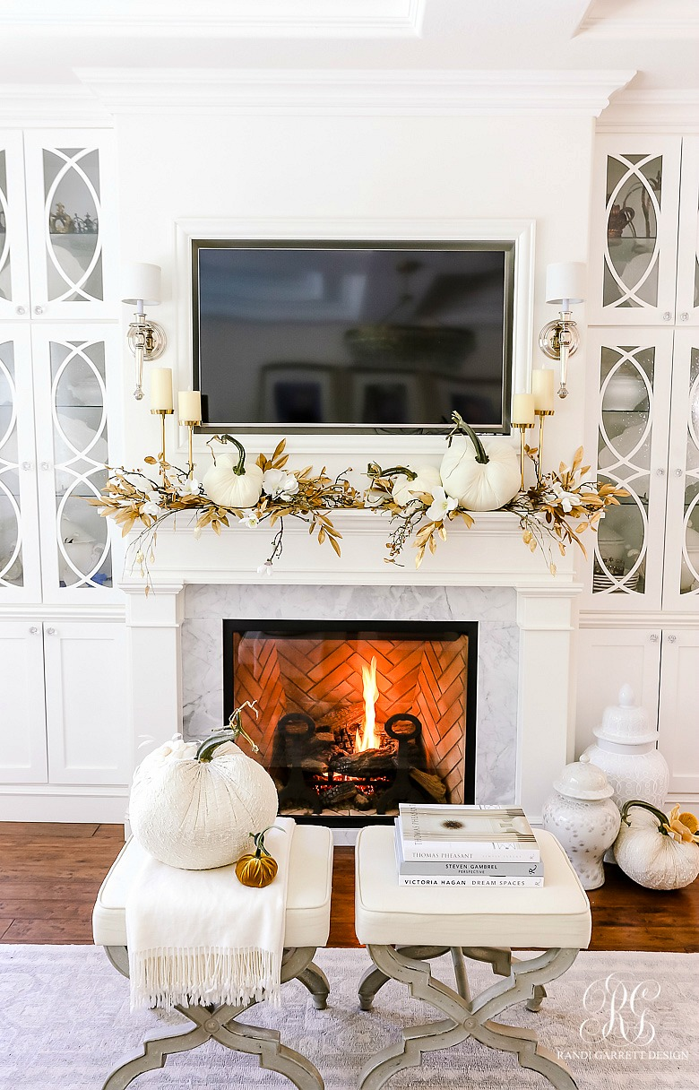 white fall mantel