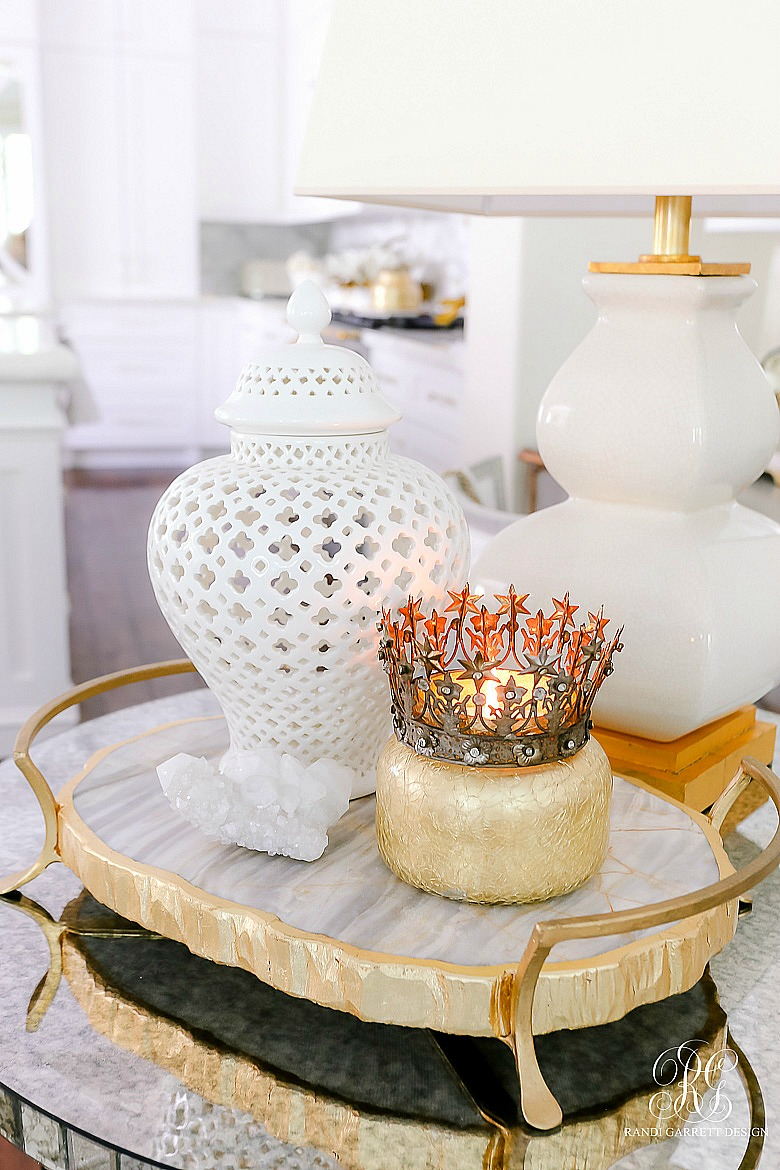 marble tray gold crown candle