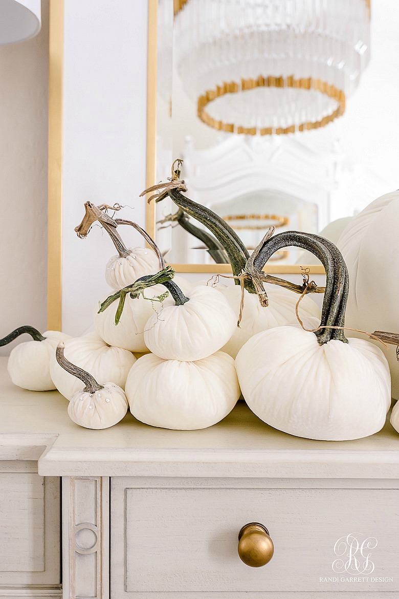 white pumpkins styled for fall