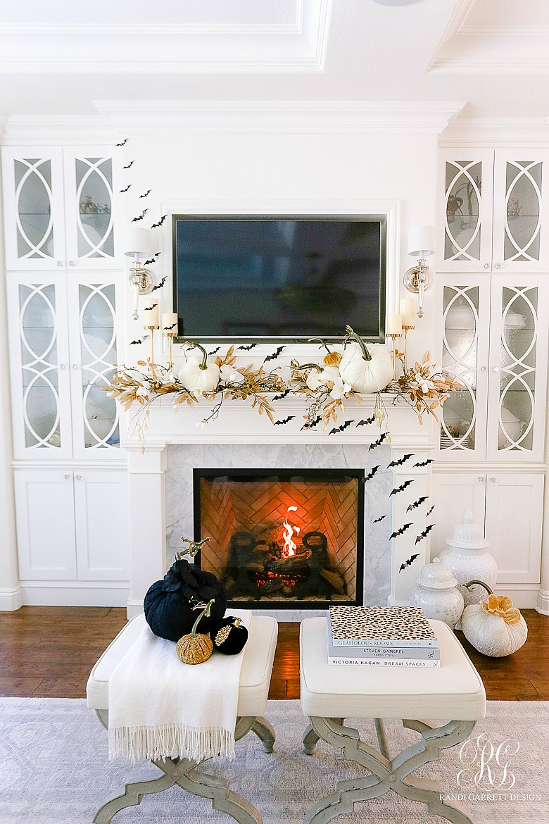 Glam Halloween fireplace with Bats