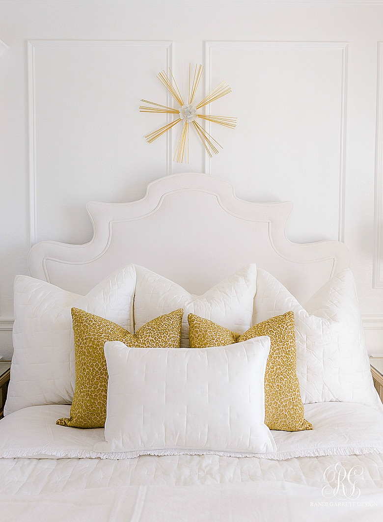 7 Ways to Style Pillows on Your Bed - gold leopard pillows