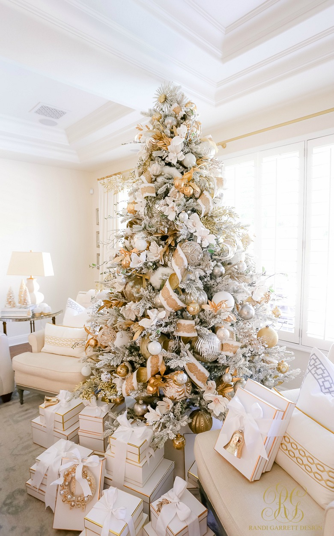 pretty white gold Christmas tree
