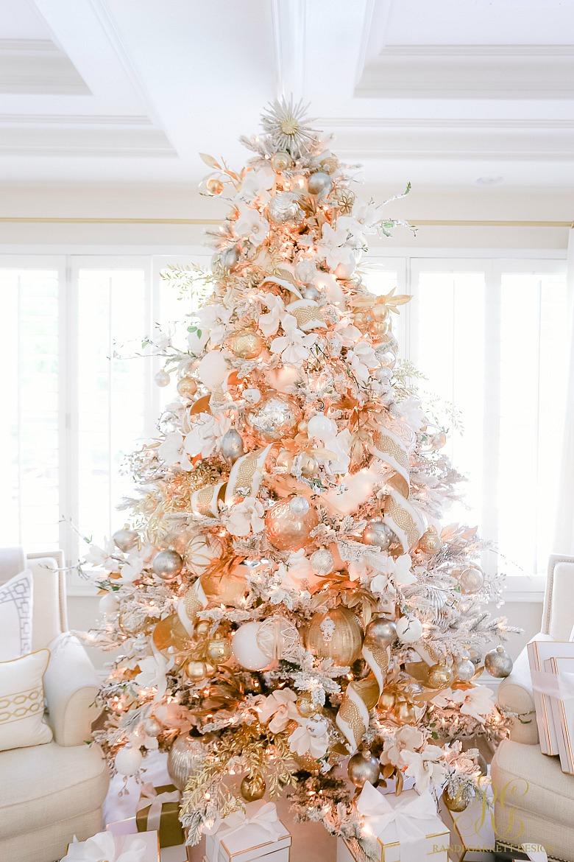 elegant white gold Christmas tree