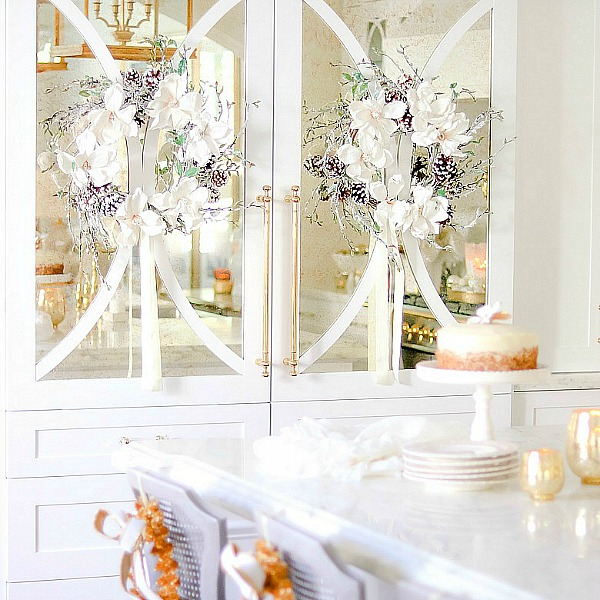 White and Gold Christmas Kitchen