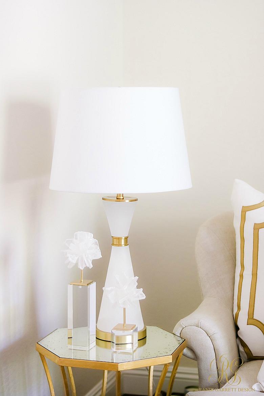 white gold side table - alabaster lamp - selenite blossoms