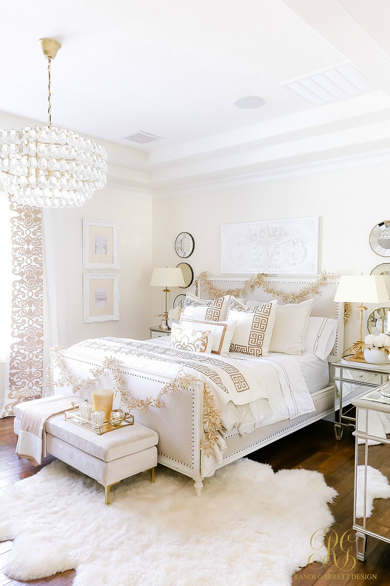 Elegant White and Gold Christmas Bedroom Tour - Randi ...
