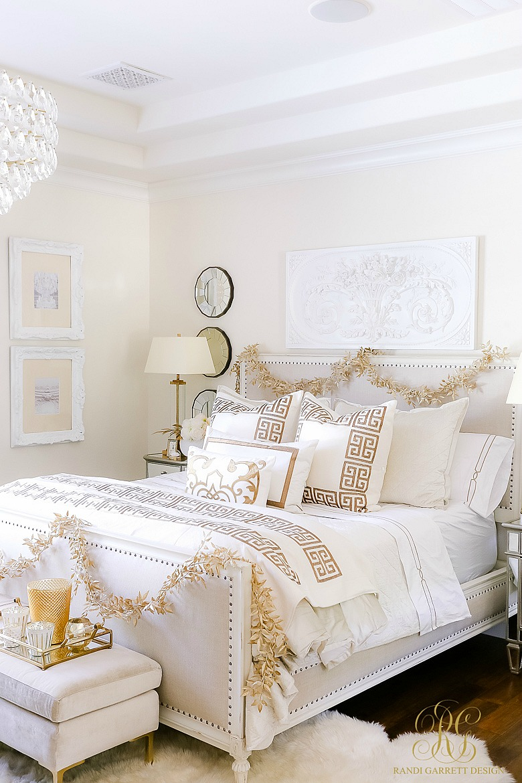 Elegant White and Gold Christmas Bedroom Tour