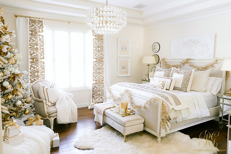 Elegant White And Gold Christmas Bedroom Tour Randi Garrett Design
