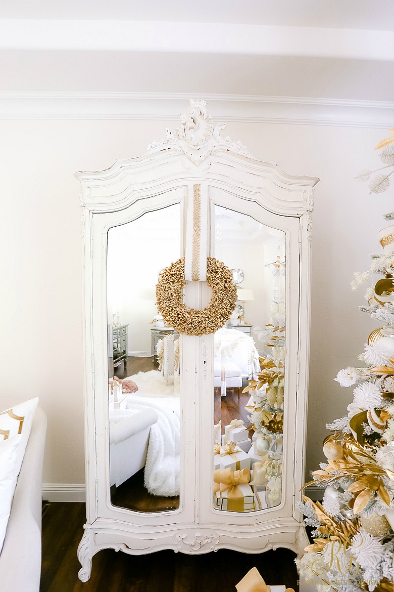 french armoire styled for christmas