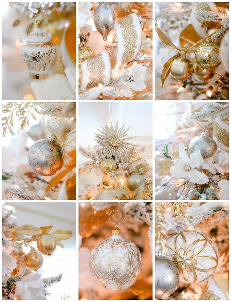 White and gold Christmas Tree Ornaments