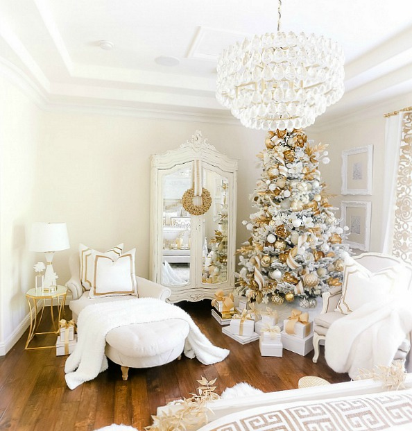 Elegant White and Gold Christmas Bedroom Tour