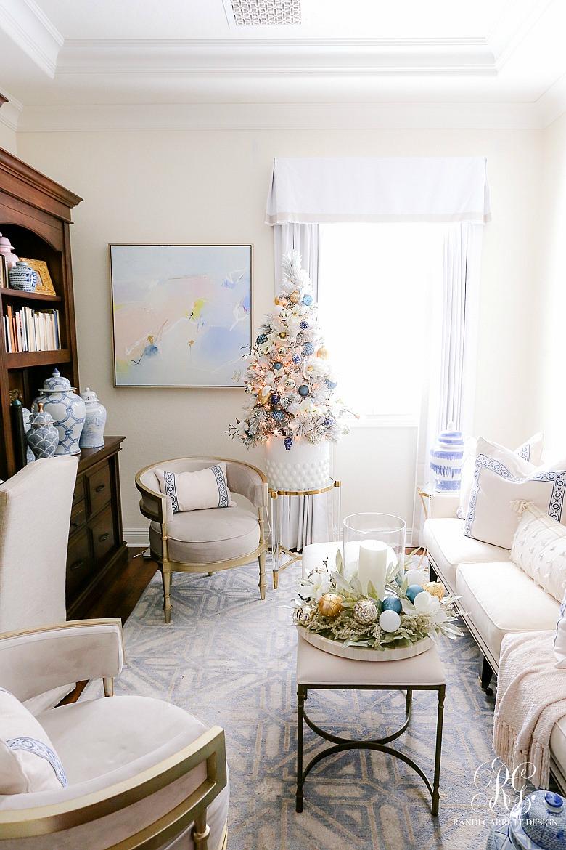 blue white christmas family room