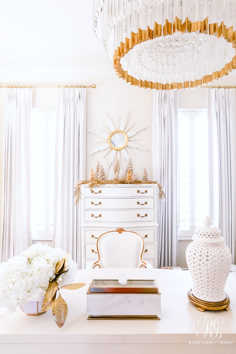 white gold home office styled for christmas