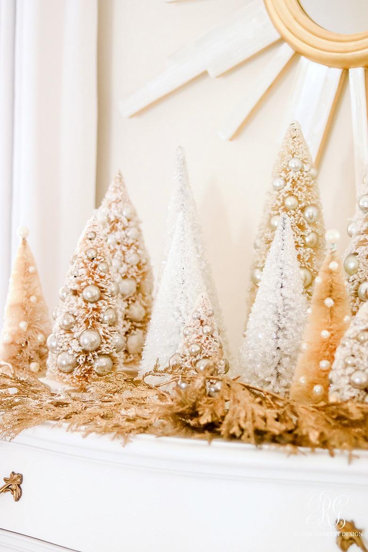 bottle brush trees gold christmas garland