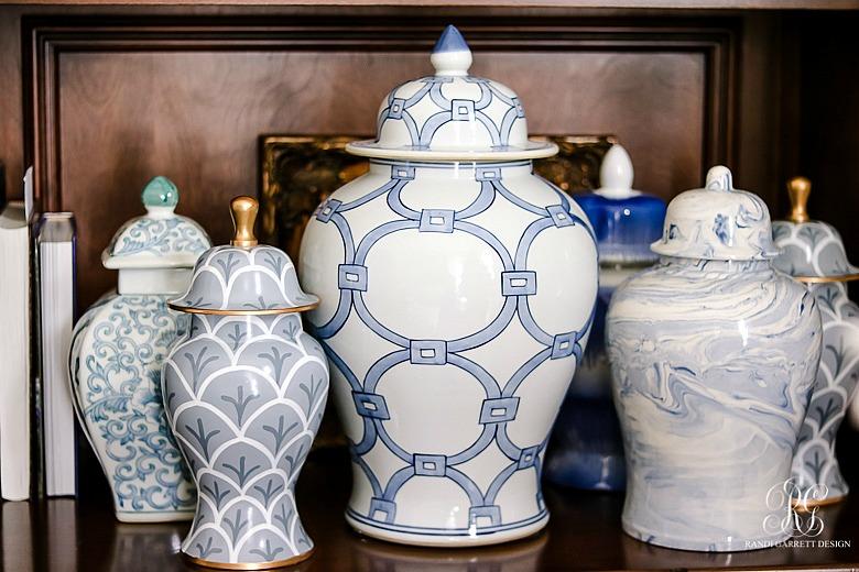 blue white ginger jars