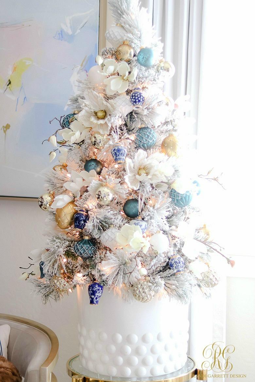 blue white tabletop christmas tree