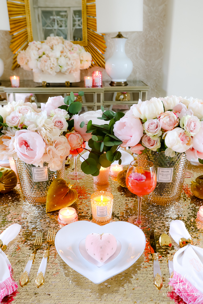 Pink Peony Valentine's Day Table gold sequin tablecloth