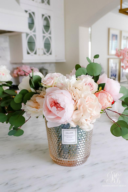 faux pink peony arrangement