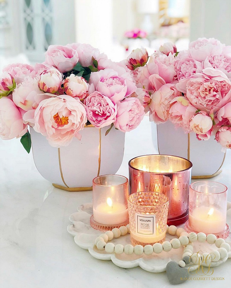 pink peony arrangement pink candles