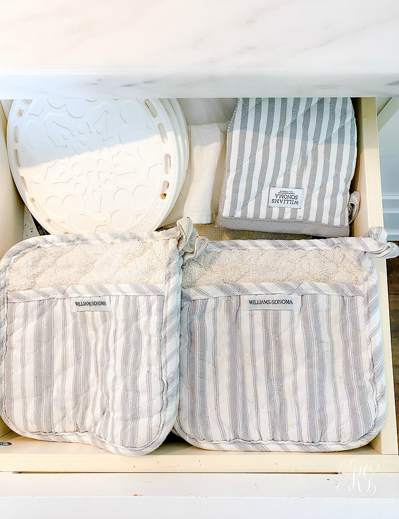 gray striped hot pads