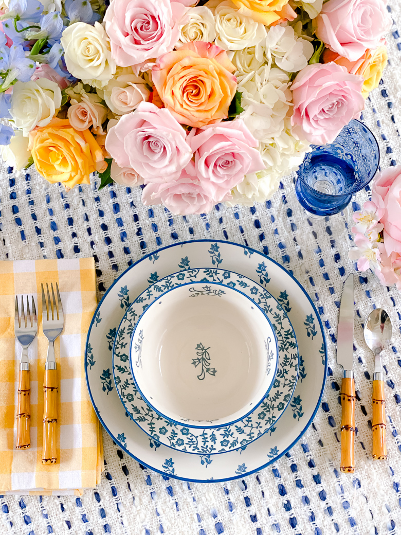 blue white dishes spring table