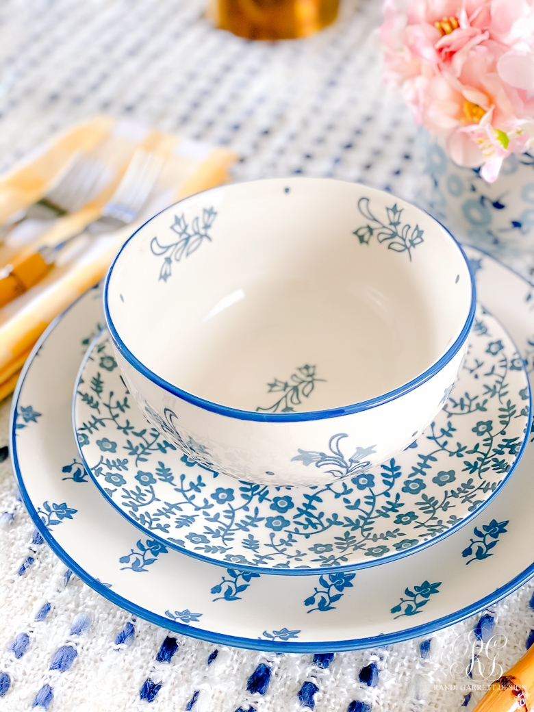 blue white calico dishes