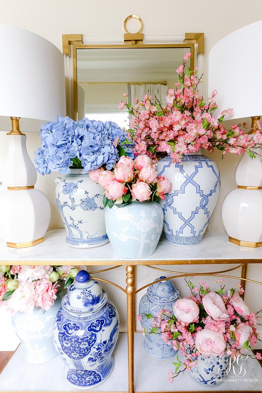 faux peonies, cherry blossoms hydrangea arrangements