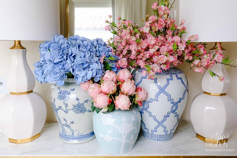 peony cherry blossom blue hydrangea arrangements