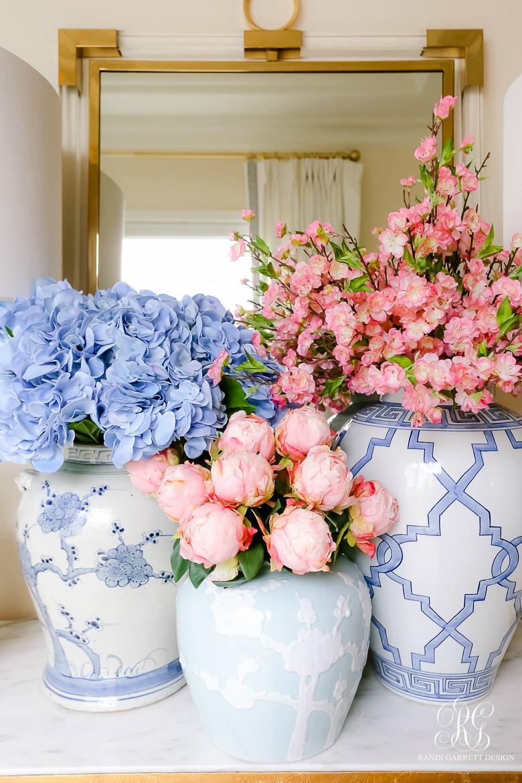 pink and blue spring floral arrangements
