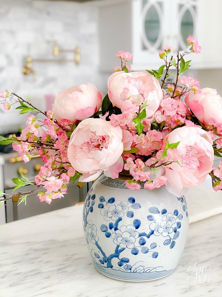 peony cherry blossom spring arrangement