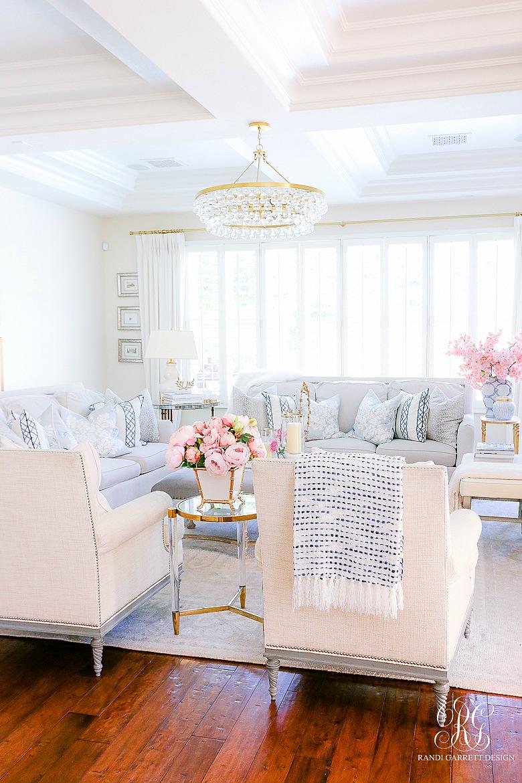 pink blue spring decor spring family room
