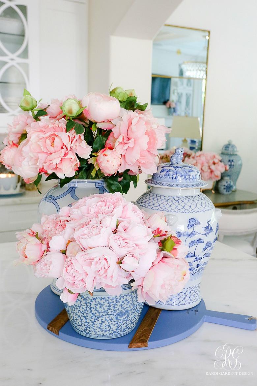 ginger jars filled pink peonies