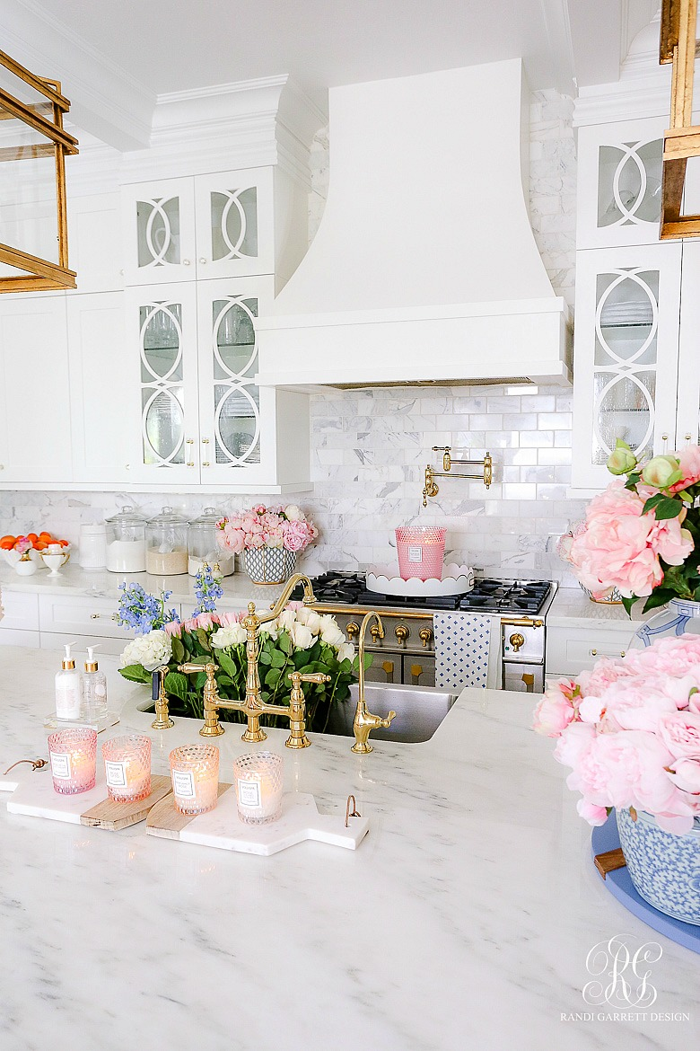 white kitchen styled for spring