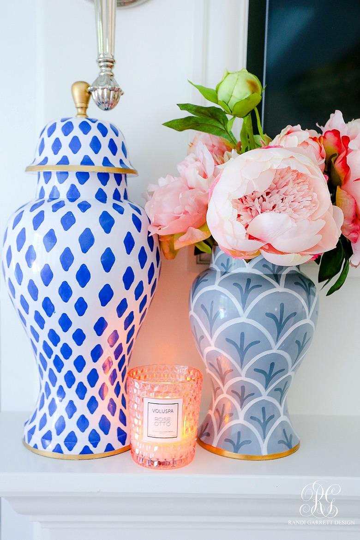blue gray ginger jars pink peonies