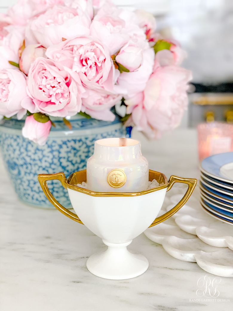 white trophy cup chanel candle