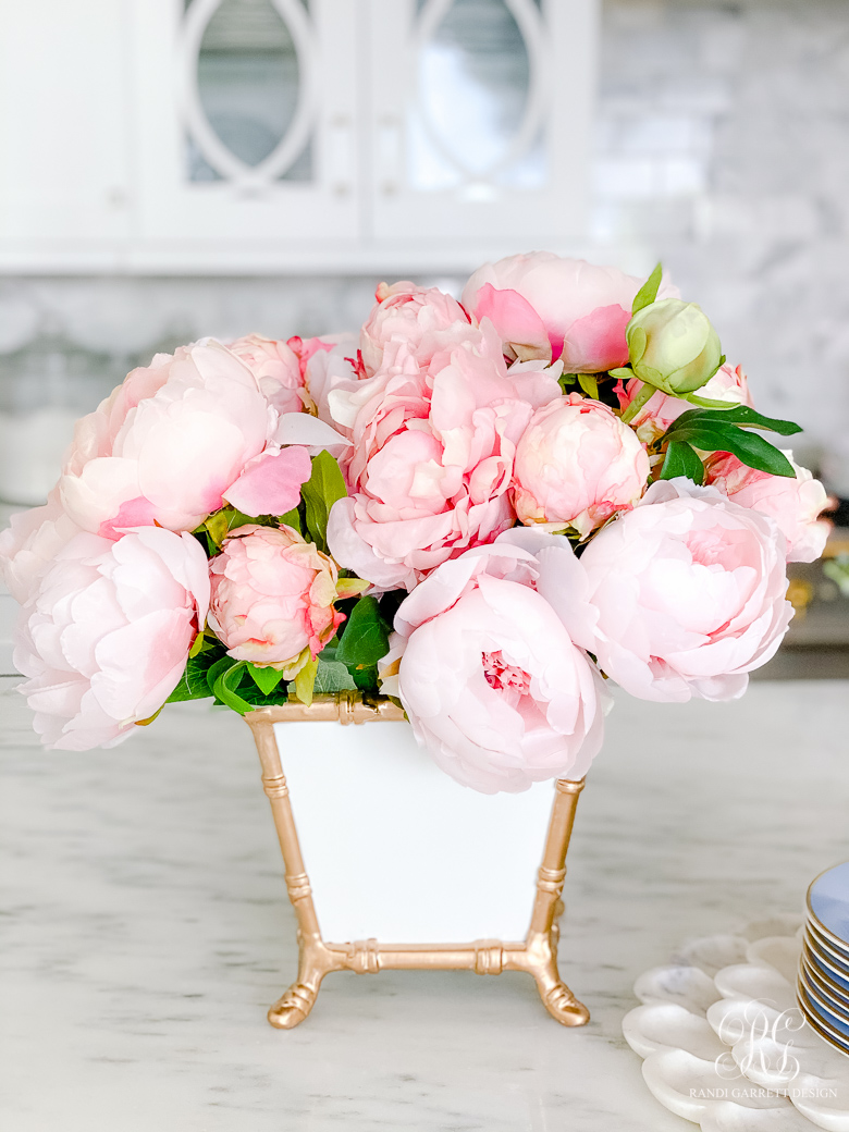 pink peonies white gold bamboo cachepot