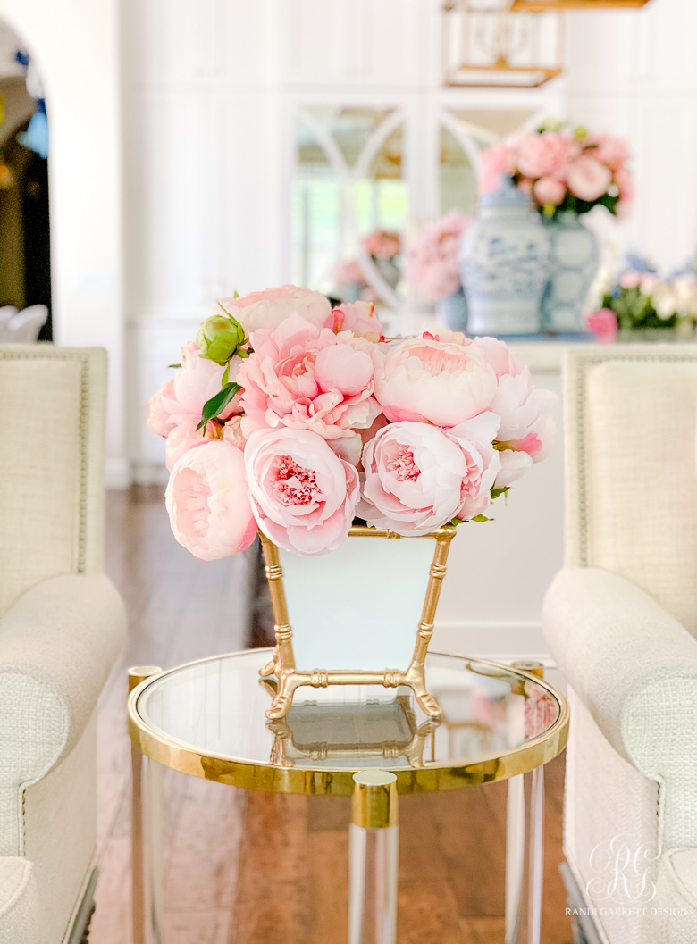pink peonies white gold bamboo cachepot spring decor
