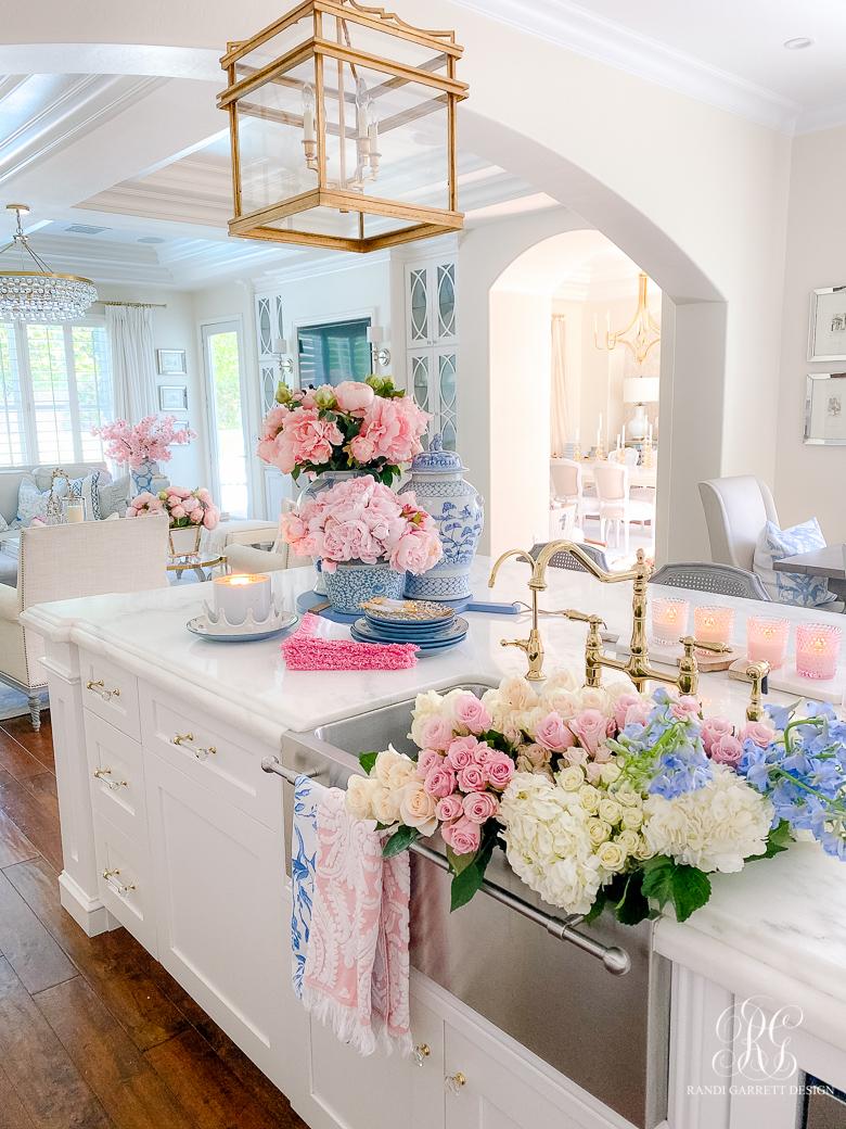 spring kitchen - white kitchen pink peonies