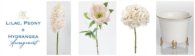 lilac peony hydrangea arrangement