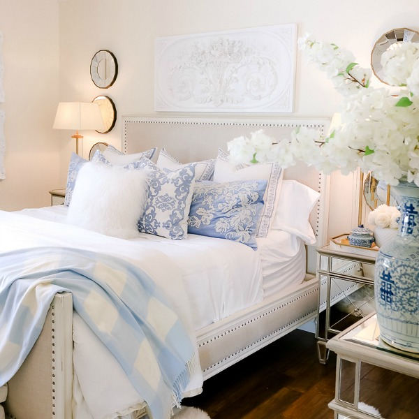 French Blue and White Spring Bedroom