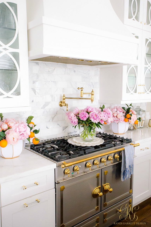 la cornue range - glam white kitchen