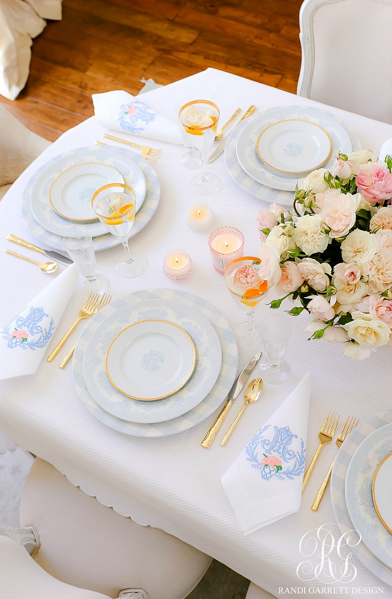 pink blue spring table blue checked plates monogramed plates