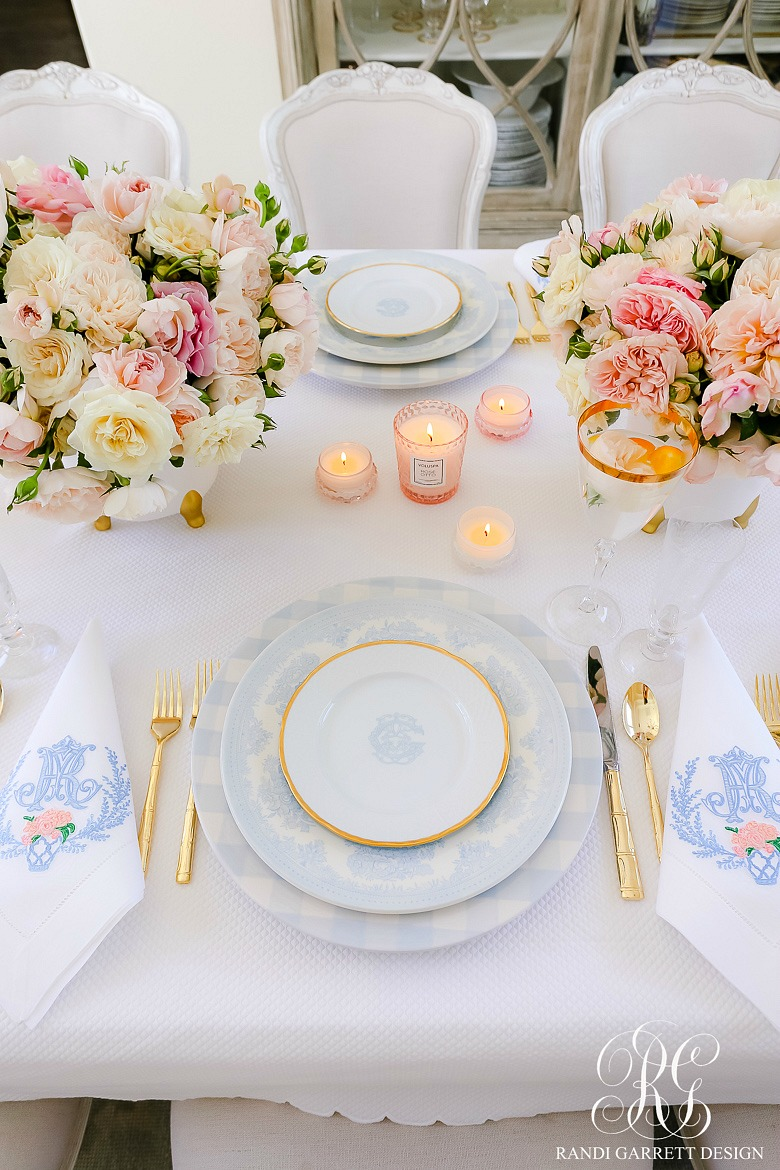 Pink and Blue Mother's Day Table
