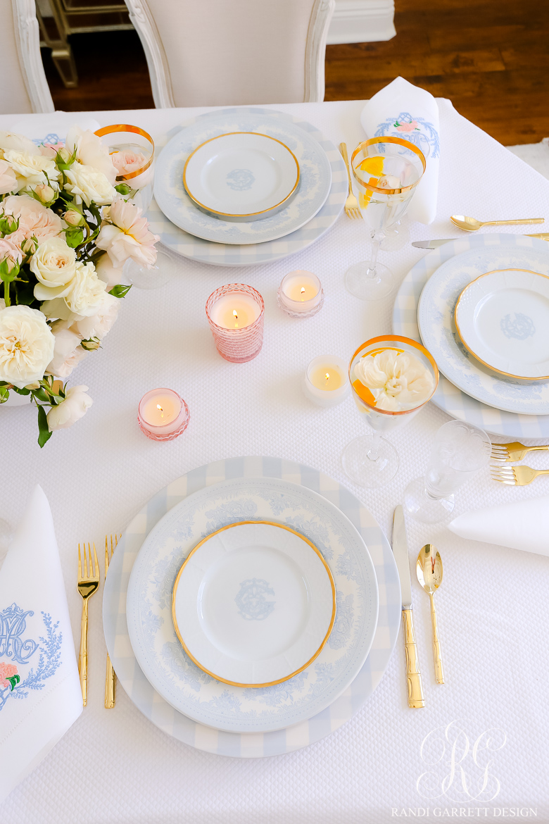 french blue and white table
