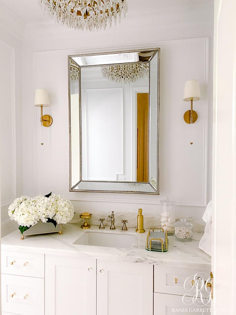pretty white bathroom gold accents