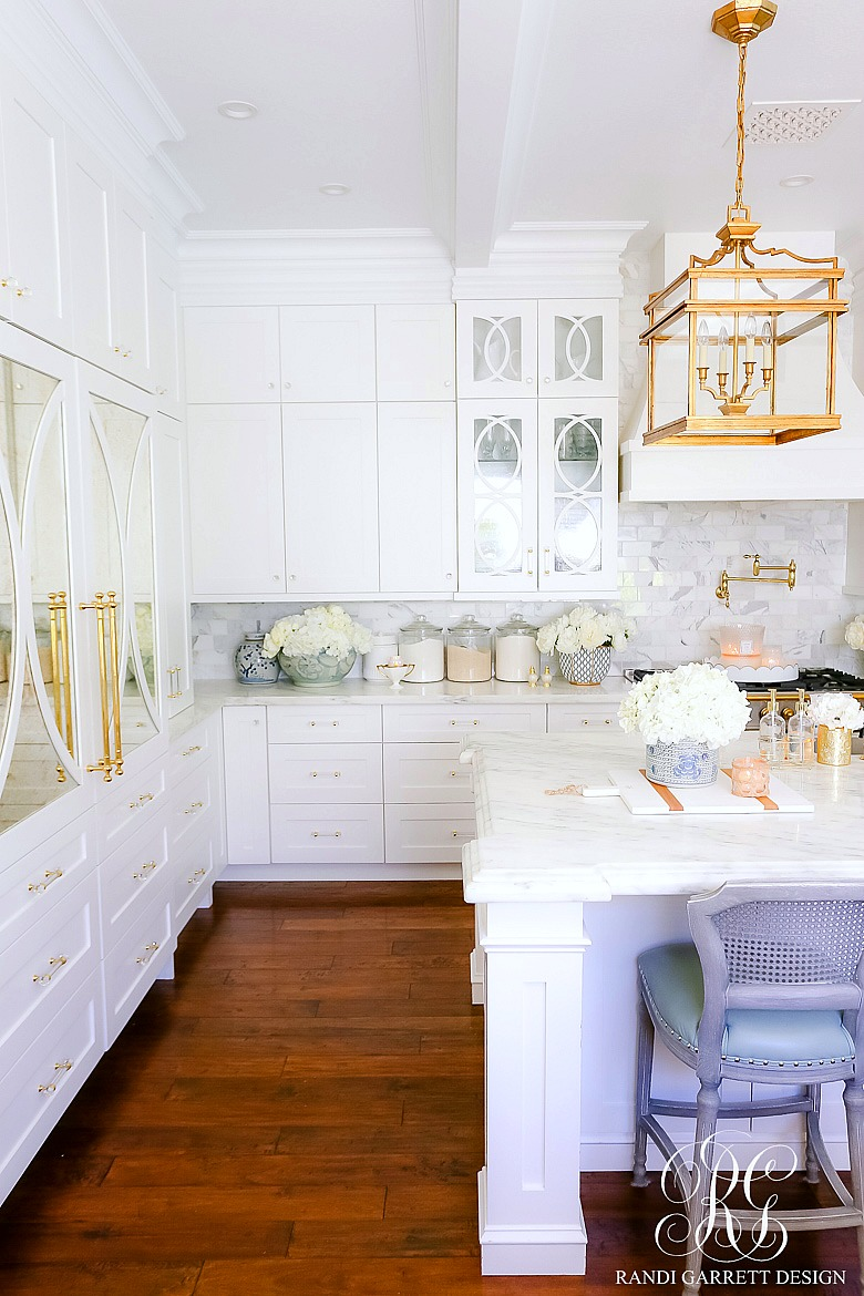 white kitchen gold accents summer styling