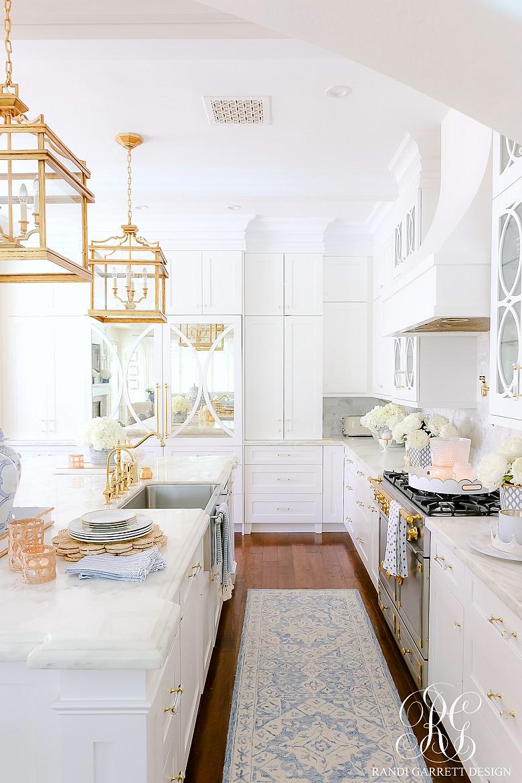 elegant white kitchen gold accents summer decor