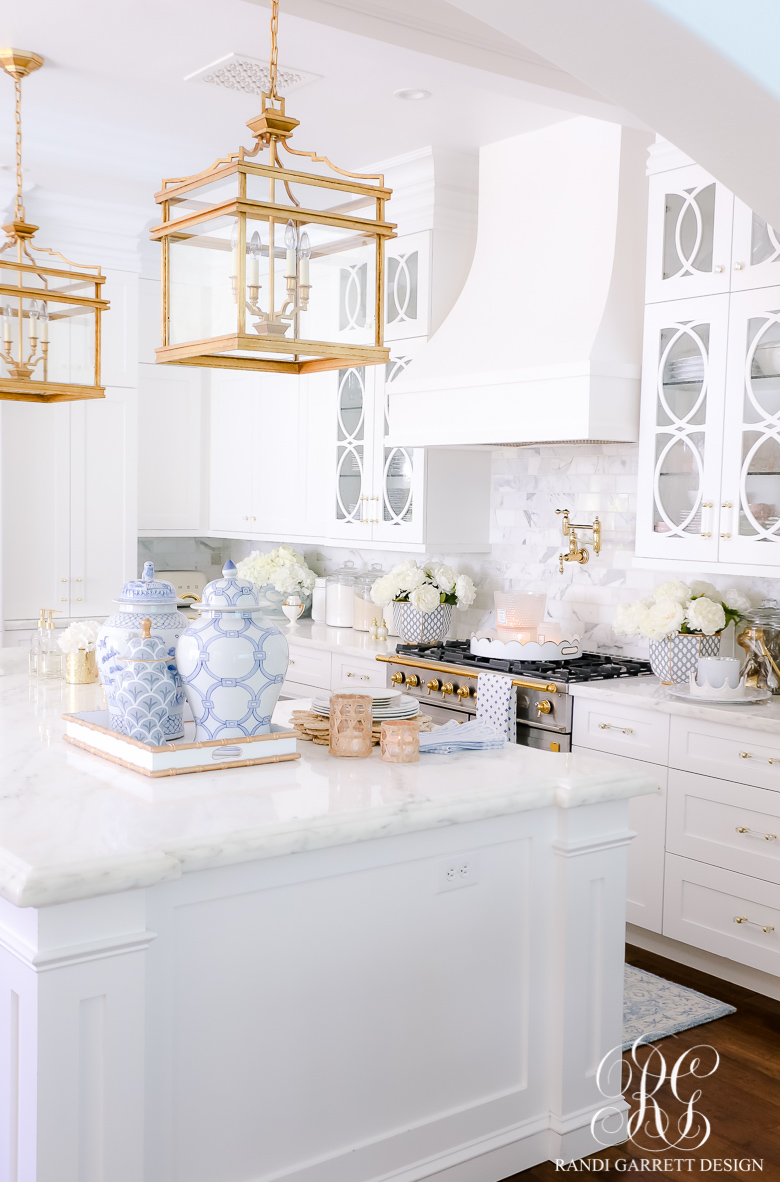 beautiful white kitchen gold accents