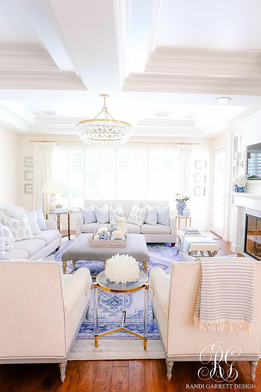 beautiful blue white family room