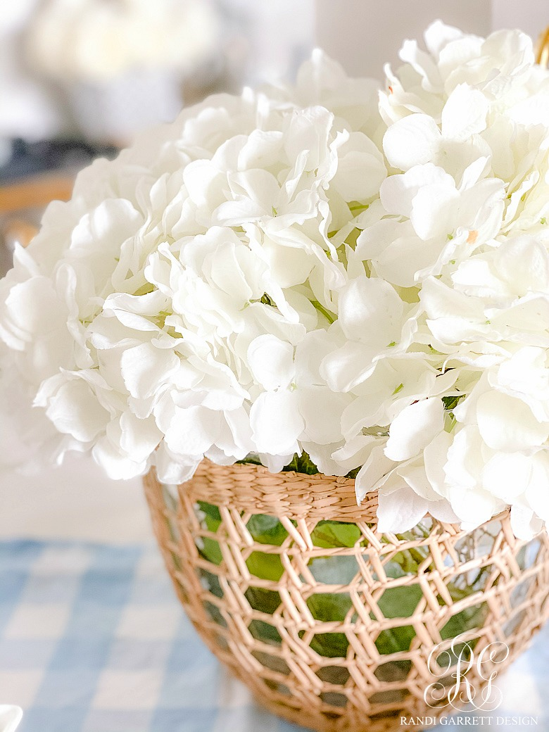 rattan bowl white hydrangeas